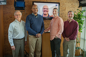 From left to right: Dr. Ben Fraser, Sam Hodges, Dr. Tim Muehlhoff (on screen), Brad Hambrick, and Dr. Jeff Forrey