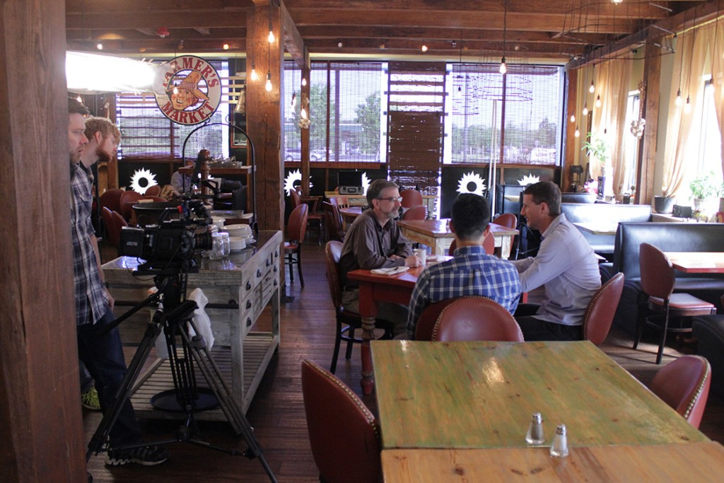 Why did we shoot at this restaurant? Jonathan likes rustic American restaurants. And Farm Table opens at 5:00 p.m., which gave us the morning and afternoon to shoot Jonathan's interview and other footage.